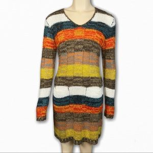 Multicolor Long Sleeve Sweater Dress
